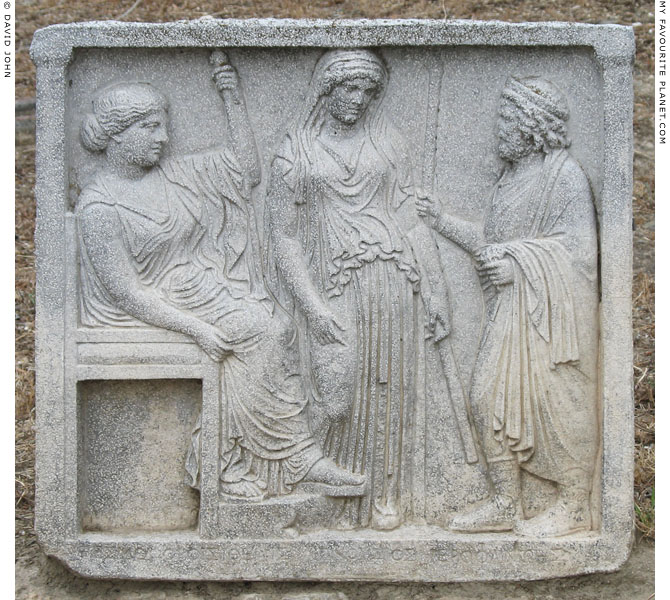 Replica of an Athenian votive relief of Demeter, Persephone and a hierophant at My Favourite Planet