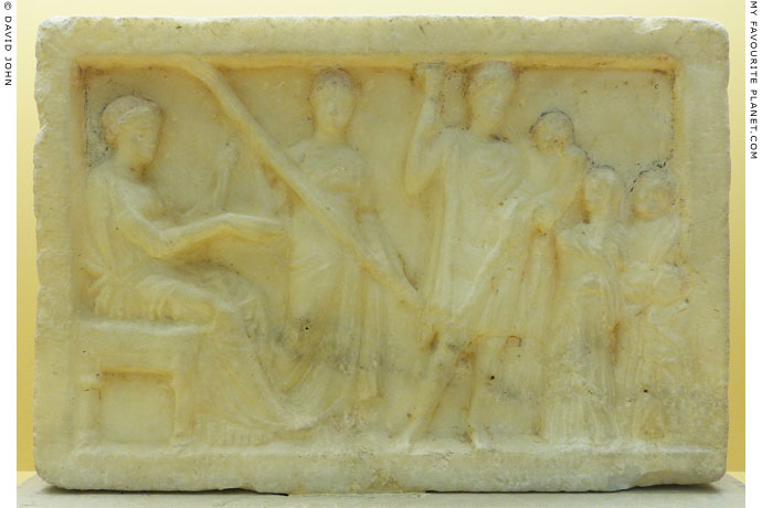Votive relief of Demeter, Kore, Iakchos and worshippers from City Eleusinion, Athens at My Favourite Planet