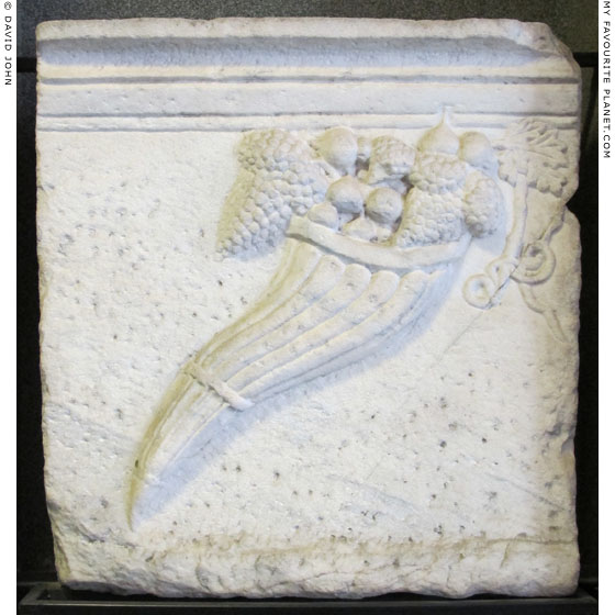 Relief of a cornucopia on a marble parapet from the Demeter Terrace, Pergamon at My Favourite Planet