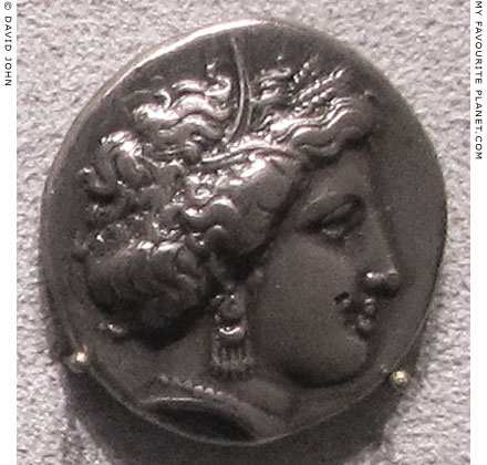 A stater coin of Pheneos, Arcadia with the head of Demeter at My Favourite Planet