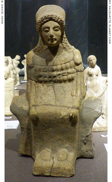 Ceramic statuette of an enthroned goddess wearing a polos, Catania, Sicily at My Favourite Planet