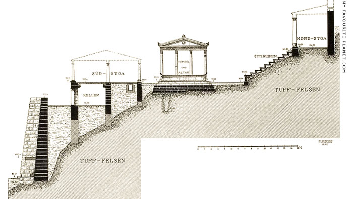 Elevation drawing of the Demeter Terrace, Pergamon at My Favourite Planet