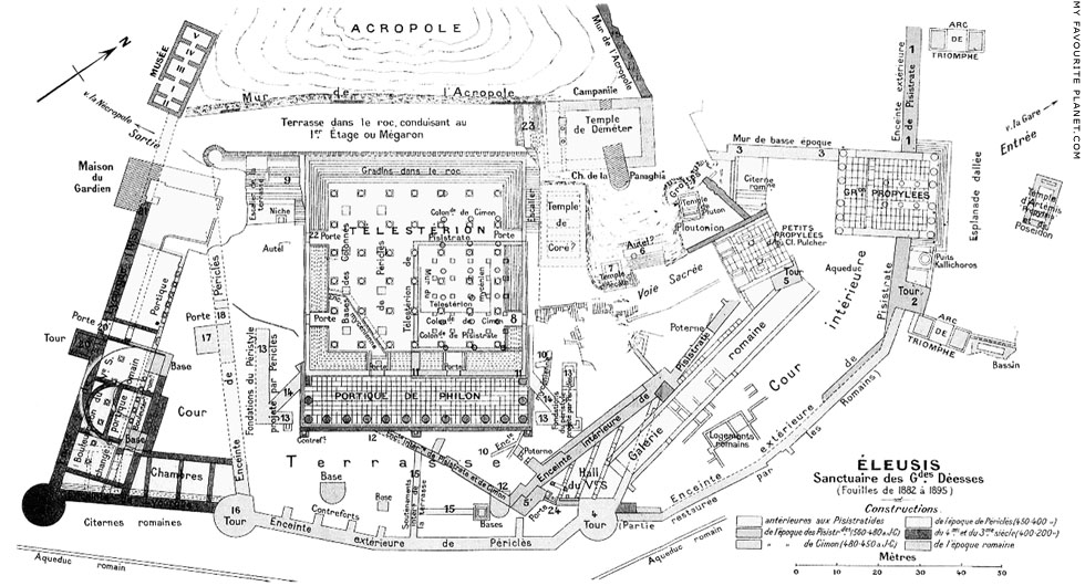 Plan of the Sanctuary of Demeter and Persephone at Eleusis at My Favourite Planet