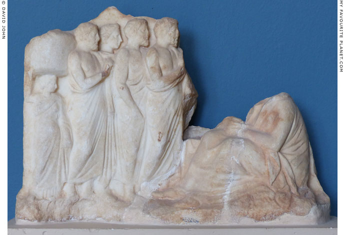 Votive relief depicting Demeter sitting on a rock, receiving her devotees at My Favourite Planet