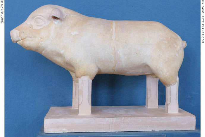 Marble votive statue of a piglet from the sanctuary at Eleusis at My Favourite Planet