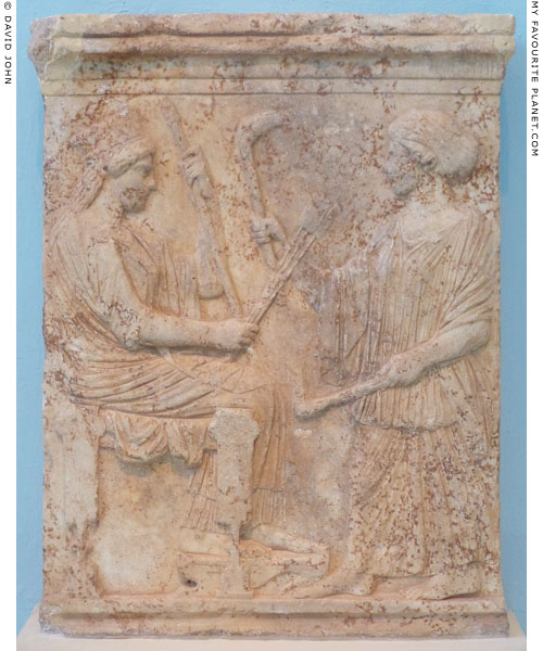 Votive relief depicting Demeter and Persephone, Eleusis, Greece at My Favourite Planet