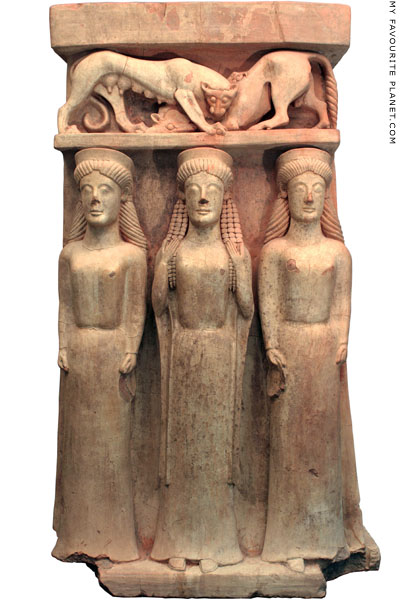 Ceramic altar with a relief depicting a triad of goddesses at My Favourite Planet