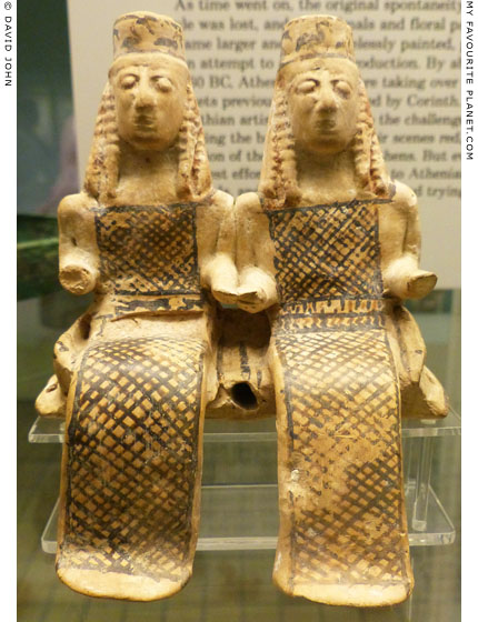 Corinthian terracotta figurines of two females in a cart at My Favourite Planet