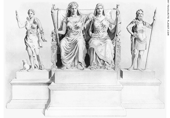 Reconstruction drawing of the Lykosoura statue group at My Favourite Planet
