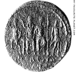 The coin of Megalopolis depicting the Lykosoura statue group at My Favourite Planet