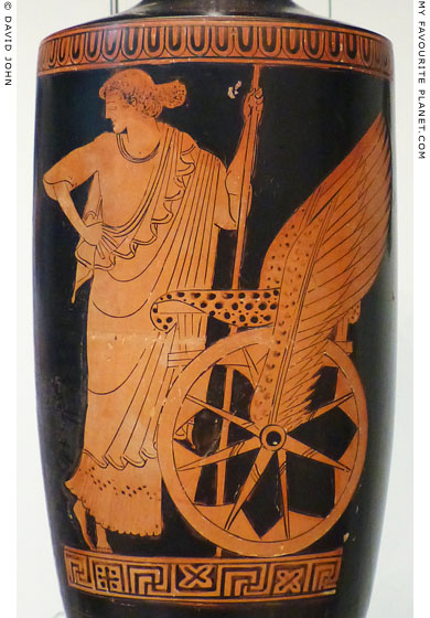 Triptolemos standing by his chariot on an Attic lekythos at My Favourite Planet