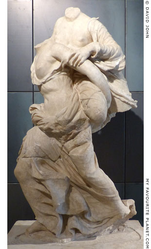 Marble statue group of two girls playing ephedrismos at My Favourite Planet