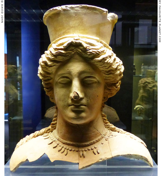 Terracotta bust of a goddess with a polos from Agrigento at My Favourite Planet