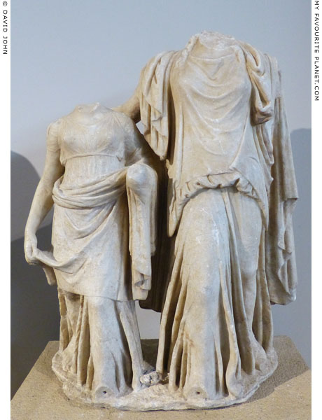 A marble statue group of Persephone and Demeter from Derveni at My Favourite Planet