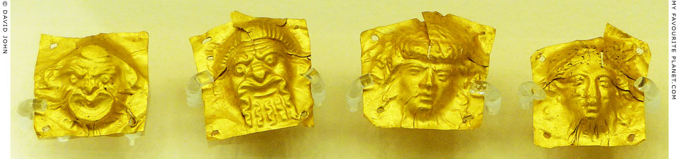 Gold sheets with repousse theatrical masks from Kerameikos, Athens at My Favourite Planet