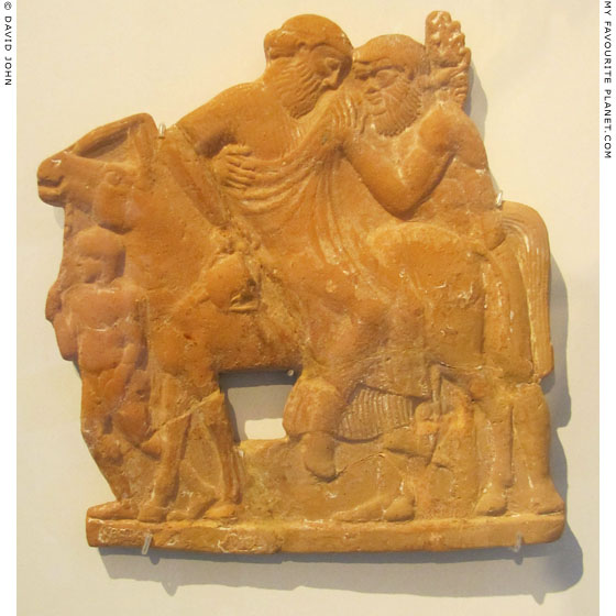Ceramic relief of drunken Dionysus riding a mule at My Favourite Planet