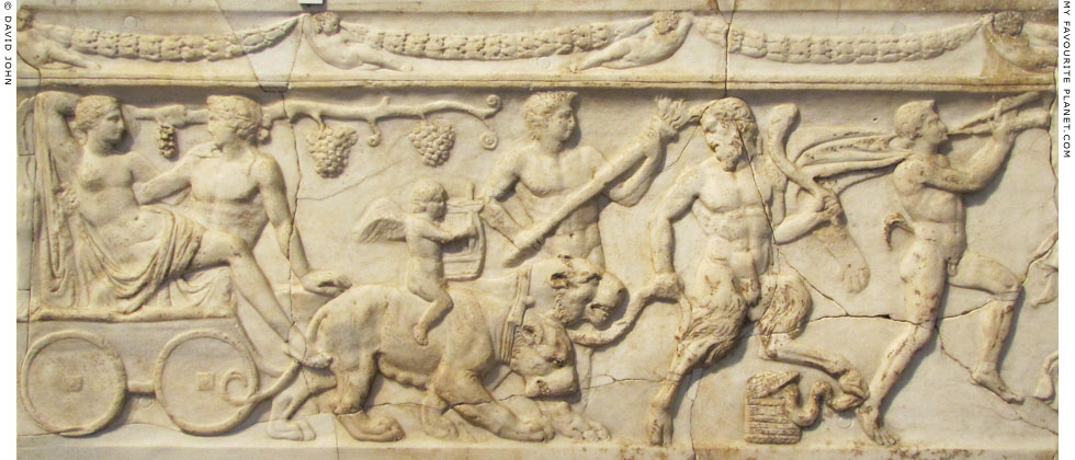 Detail of the Dionysus procession relief from the Via Appia at My Favourite Planet