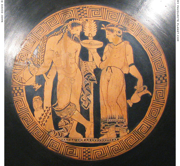 Etruscan kylix showing Dionysus/Fufluns with a female figure at My Favourite Planet