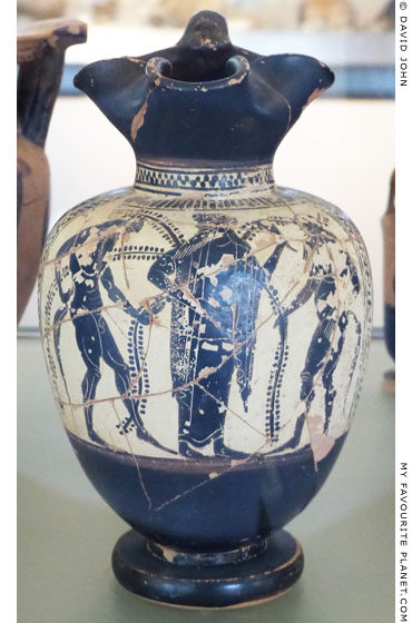 A black-figure oinochoe with Dionysus and two satyrs, from Pydna, Macedonia at My Favourite Planet