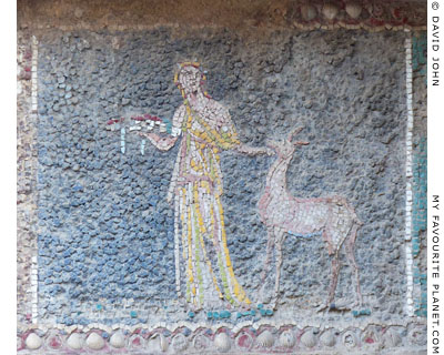 A female figure with a fawn in a mosaic, Herculaneum at My Favourite Planet