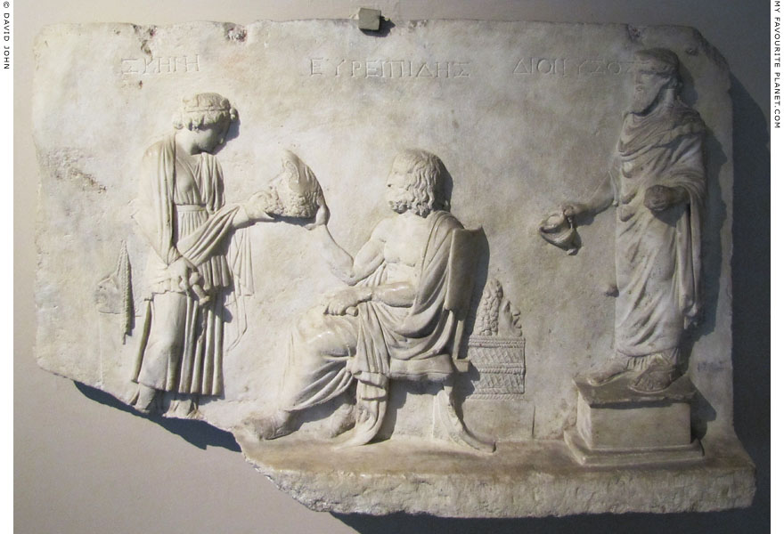 Marble relief in honour of the tragedian Euripides at My Favourite Planet