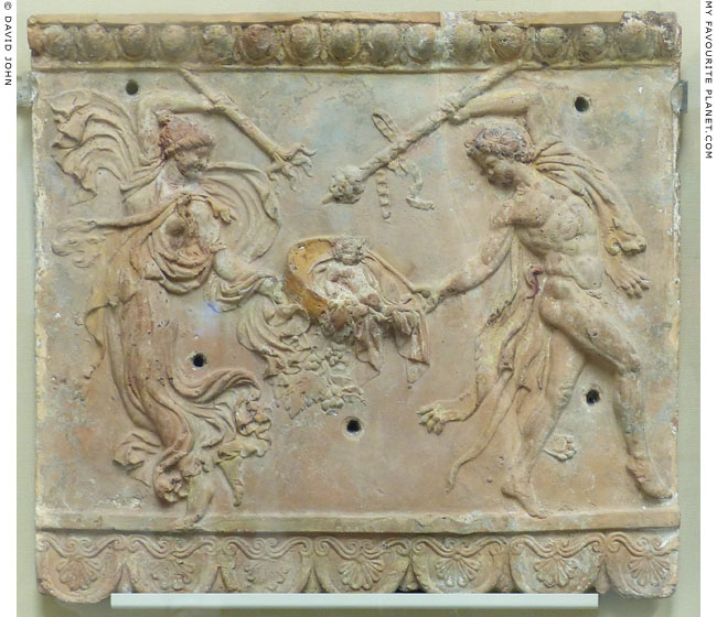 A Campana plaque of a dancing maenad and satyr with the infant Bacchus at My Favourite Planet
