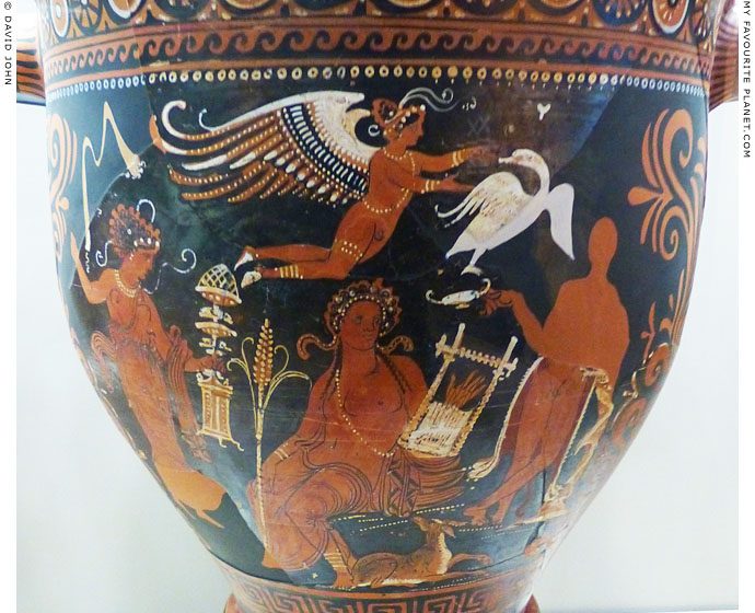 Dionysus with his thiasos on an Apulian skyphos at My Favourite Planet