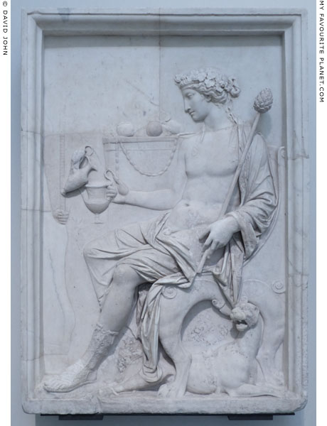 Marble Neo-Attic relief showing Dionysus seated, Naples at My Favourite Planet