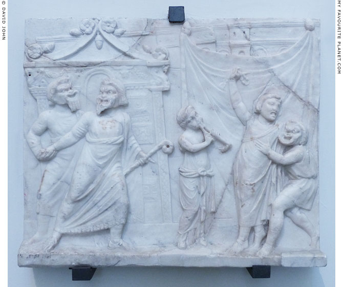 Neo-Attic marble relief depicting a theatrical scene at My Favourite Planet
