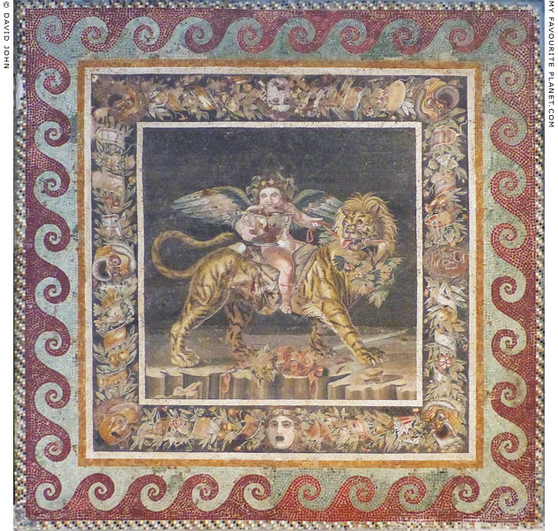 Mosaic depicting the infant Dionysus riding a tiger from Pompeii at My Favourite Planet