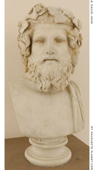 Marble bust of bearded Dionysus in Naples at My Favourite Planet