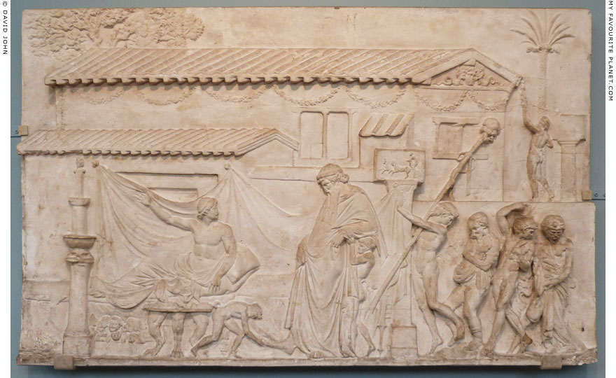 A Ikarios relief showing Dionysus visiting the house of a poet, Ashmolean Museum, Oxford at My Favourite Planet