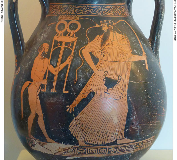 Dionysus and a satyr carrying a tripod from Paestum at My Favourite Planet