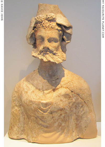 Terracotta bust of Dionysus from a household shrine in Pella, Macedonia at My Favourite Planet
