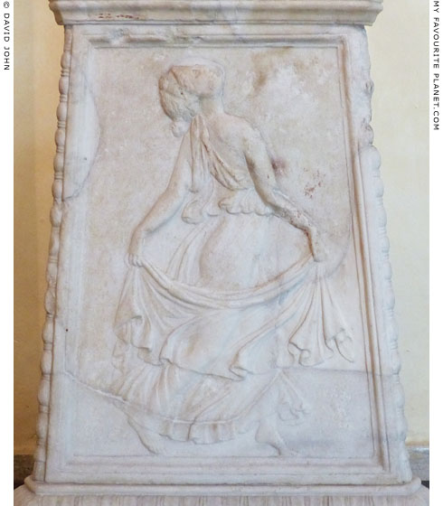 Relief of a dancing maenad on the base of a marble candelabrum at My Favourite Planet