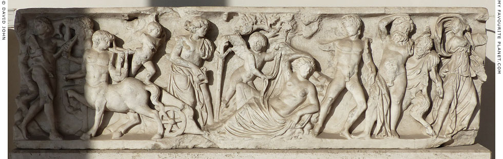 Relief depicting Dionysus and Ariadne, Baths of Diocletian, Rome at My Favourite Planet