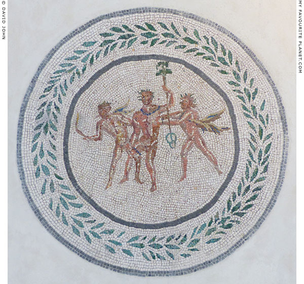 Mosaic showing Dionysus and two satyrs at My Favourite Planet