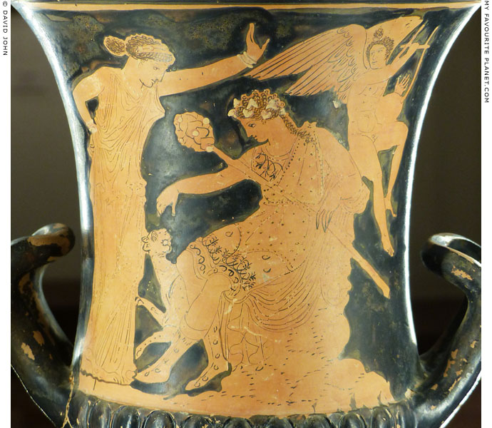 Dionysus, Ariadne and Eros on a red-figure krater from Thebes at My Favourite Planet