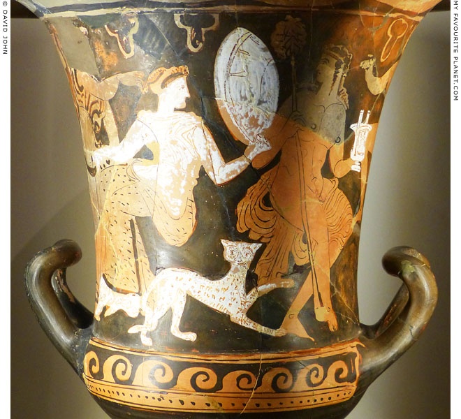 Dionysus, Ariadne and a panther on a red-figure krater from Thebes at My Favourite Planet