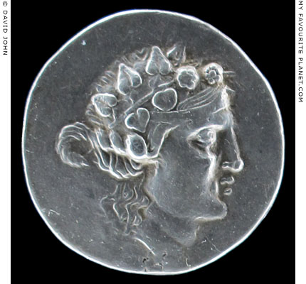 The head of Dionysus on a silver tetradrachm of Thasos at My Favourite Planet