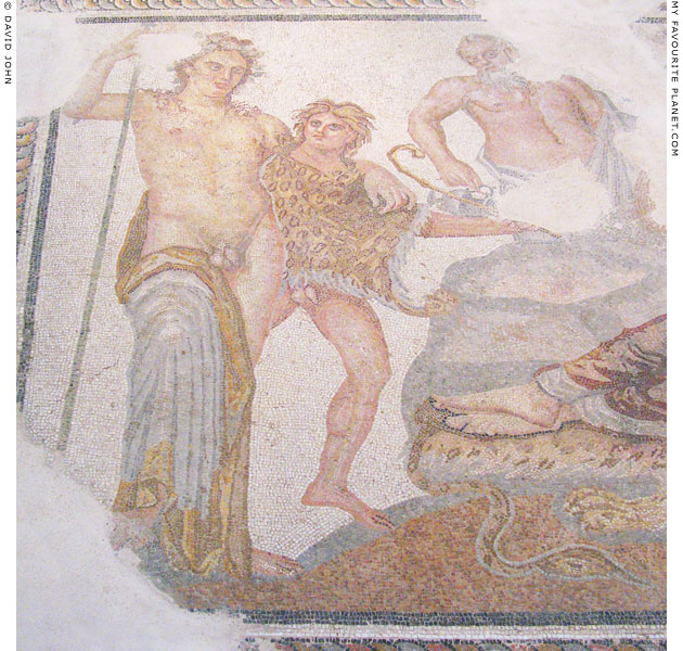 Dionysus and a satyr in the Thessaloniki mosaic at My Favourite Planet