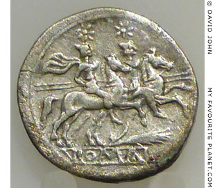 The Dioscuri on a Roman quinari coin from Akragas, Sicily at My Favourite Planet