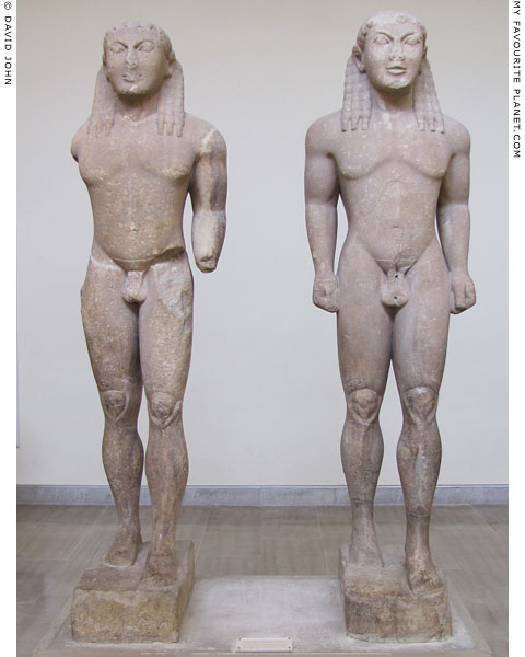 Twin kouroi statues traditionally identified as Kleobis and Biton at My Favourite Planet