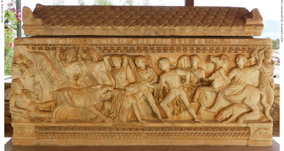 The Dioskouroi taking part in the Kalydonian Boar hunt on a sarcophagus from Eleusis at My Favourite Planet