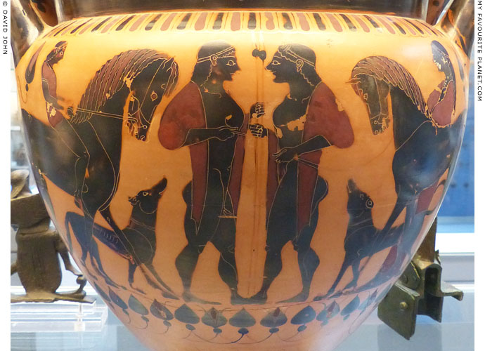 Detail of a black-figure column krater with two youths flanked by their horses and dogs at My Favourite Planet