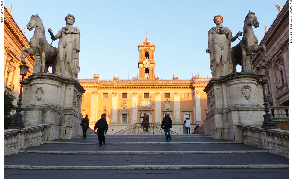 Colossal statues of Castor and Pollux on the Piazza del Campidoglio, Capitoline Hill, Rome at My Favourite Planet