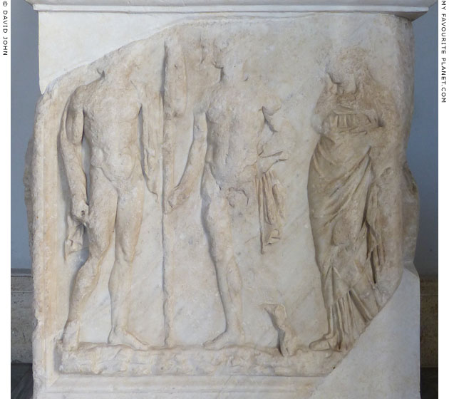 Statue base with a relief of the Dioscuri and Helen of Troy at My Favourite Planet