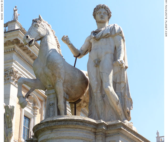 The Dioscuri statue on the left side of the steps up to the Piazza del Campidoglio, Rome at My Favourite Planet