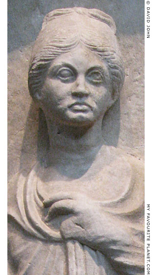 One of the women on the stele dedicated by Antigonos at My Favourite Planet