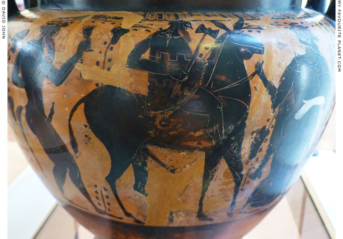 Hephaistos returning to Olympus on an Attic column krater at My Favourite Planet